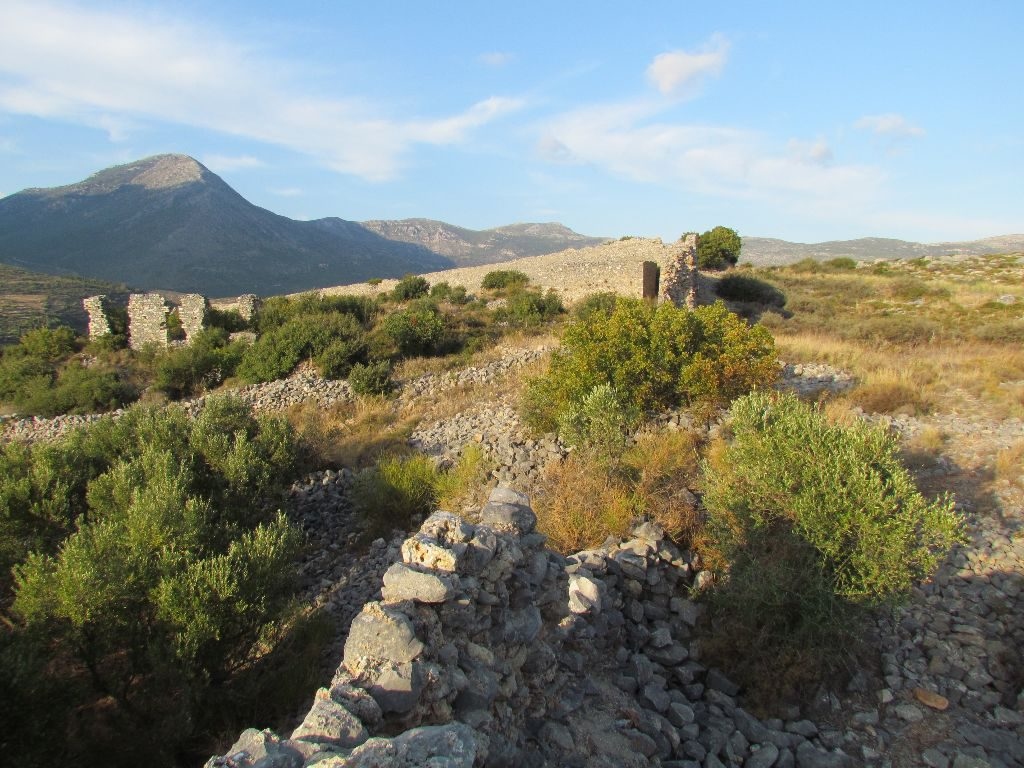 Castle ruins and bleak mountains