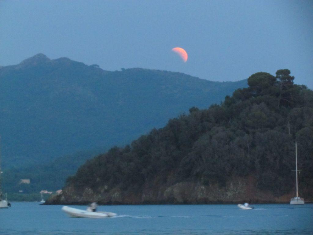 Part way through the lunar eclipse