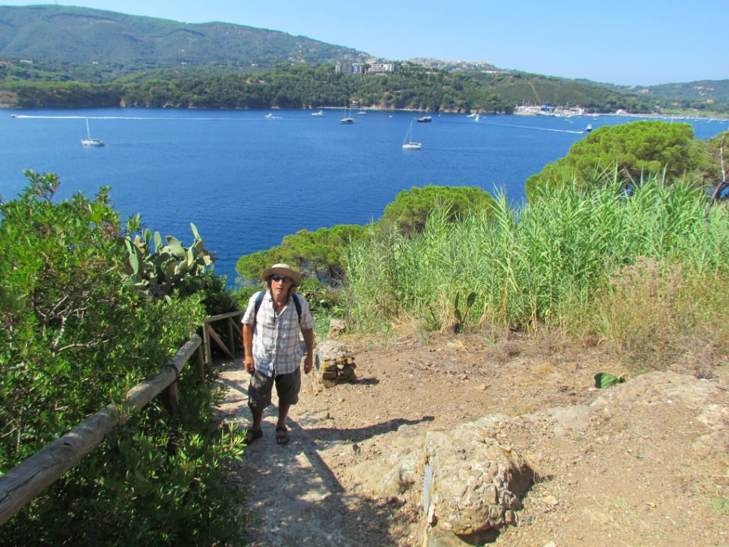 Walking the coastal path, the anchorage in the background