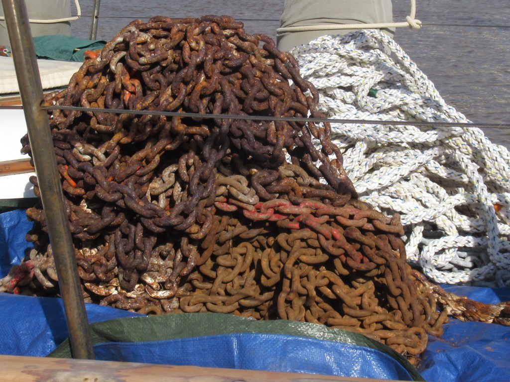 A pile of rusty anchor chain