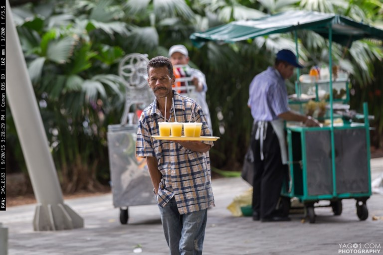 Fresh Orange Juice Street Vendor in Medellin Colombia