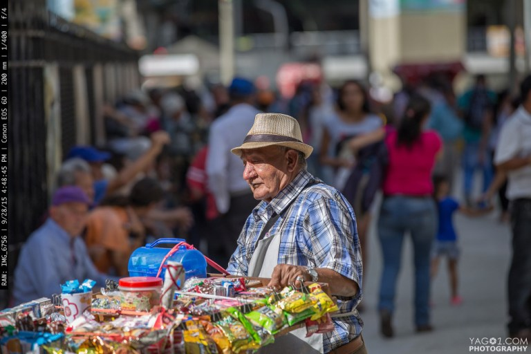 Old Man in Medellin Street capture in Colombia
