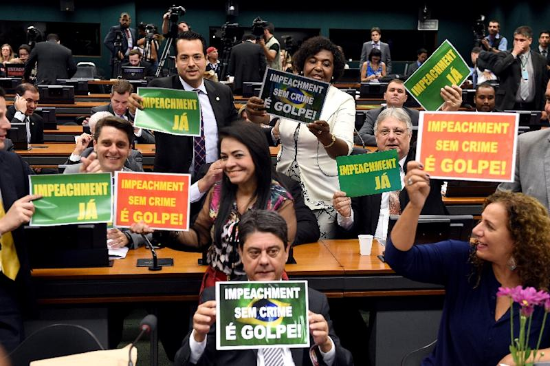 A session of the lower house special committee takes place on the impeachment of Brazilian President Dilma Rousseff, in Brasilia, on April 11, 2016