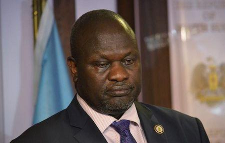 South Sudan First Vice President Machar attends a news conference at the Presidential State House following renewed fighting in South Sudan's capital Juba