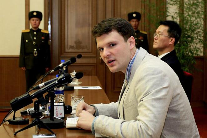 FILE - In this Feb. 29, 2016 file photo, American student Otto Warmbier speaks as Warmbier is presented to reporters in Pyongyang, North Korea.  U.S. officials say the Trump administration will ban American citizens from traveling to North Korea following the death of university student Otto Warmbier, who passed away after falling into a coma into a North Korean prison. (AP Photo/Kim Kwang Hyon)
