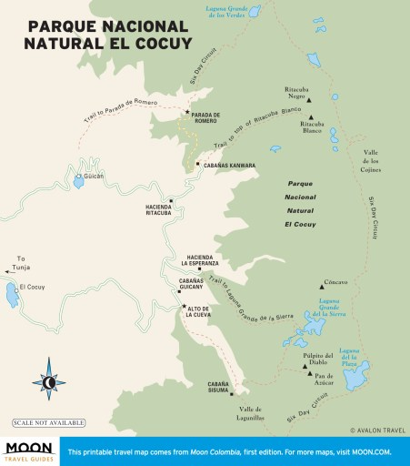 Carte du Parc national El Cocuy Colombie