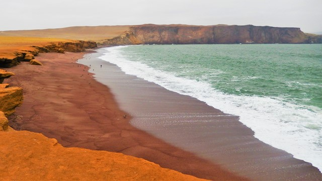 Pérou Paracas flamants roses sable rouge