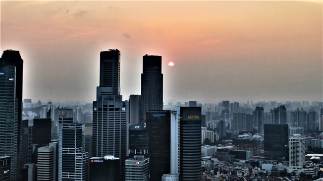 Singapour Marina Bay Sands panorama coucher de soleil