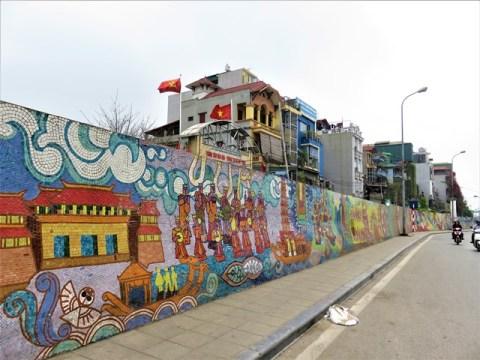 Vietnam Hanoï fresque en céramique