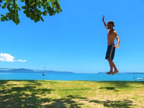 Philippines Port Barton slackline