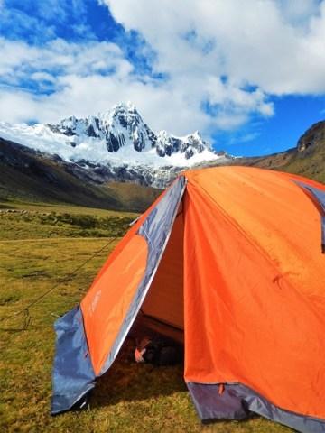 Pérou Cordillère blanche trek Santa Cruz tente