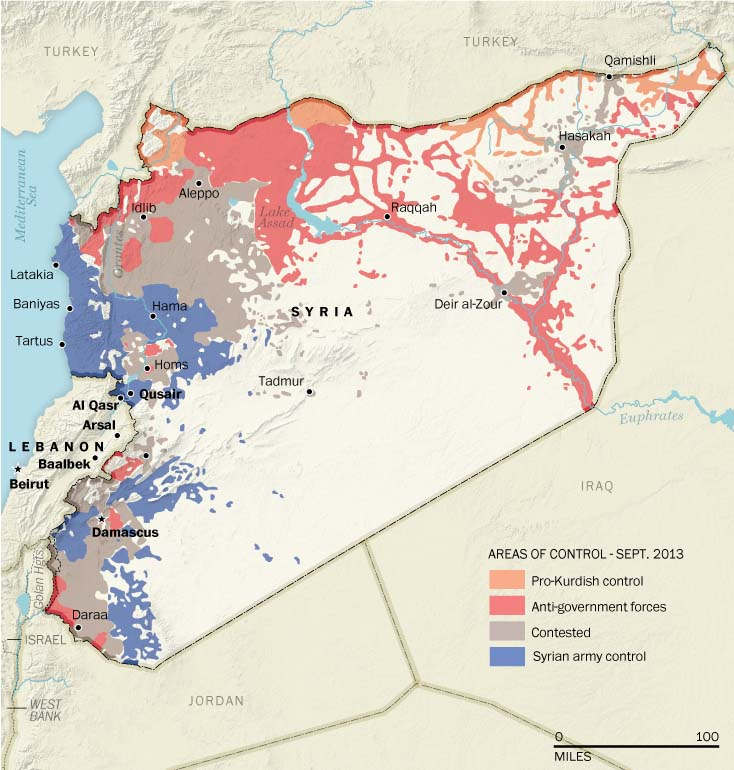 In the early 20th century, Syria was part of a region redrawn by outside forces. Today the 3-year-old uprising against the government of President Bashar al-Assad is generating the outlines of zones of control that could result in the partitioning of the country.