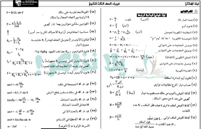 مراجعة ليلة الامتحان فيزياء ثانوية عامة