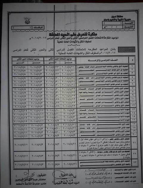 جدول امتحانات الصف الأول الابتدائي 2018 اخر العام محافظة اسوان
