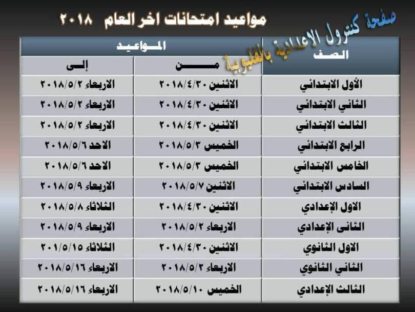 جدول امتحانات اخر العام 2018 جميع الصفوف محافظة القليوبية