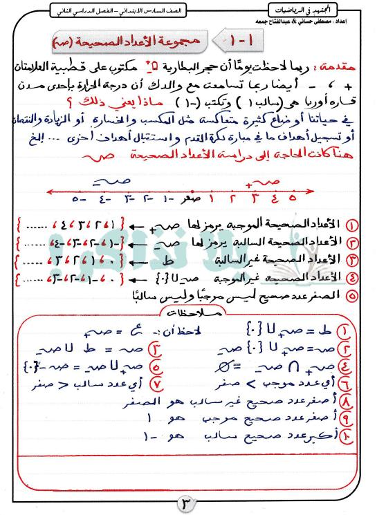 مذكرة رياضيات للصف السادس الابتدائى ترم ثانى