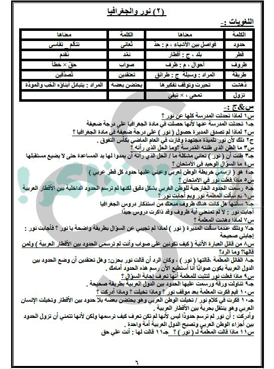 ملزمة لغة عربية للصف الاول الاعدادي ترم ثاني