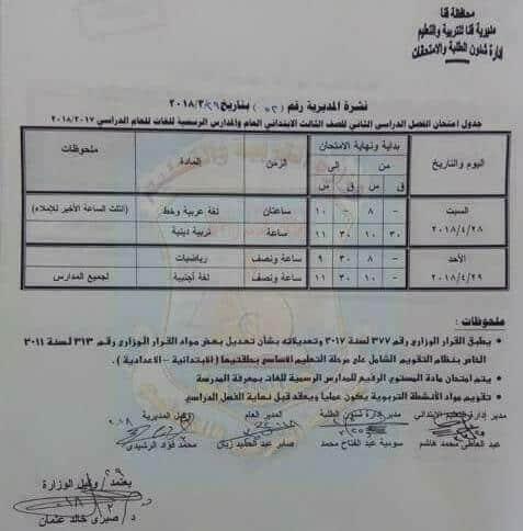 جدول امتحانات الصف الثالث الابتدائي 2018 اخر العام محافظة قنا