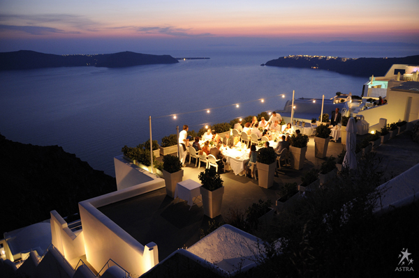 dining on the edge of the caldera, Astra Suites, Santorini, Greece
