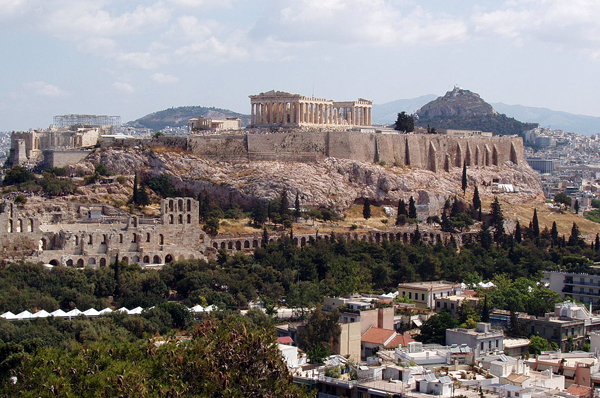 the acropolis of Athens can be seen from all over the city