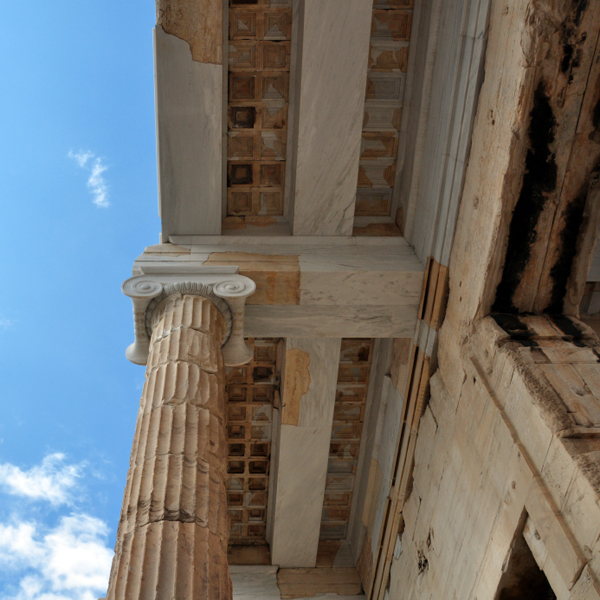ceiling of the Athens Acropolis Propylaia, once painted blue with gold stars