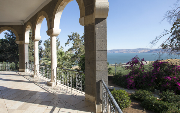 view of the Sea of Galilee from the Church of the Beatitudes, Israel, photo by Itamar Grinberg, courtesy of Israel Ministry of Tourism