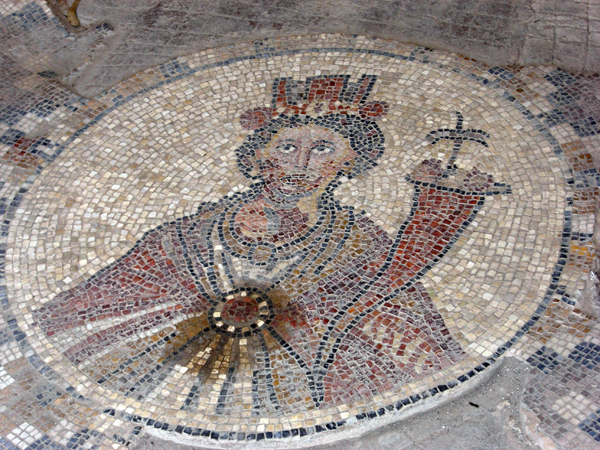 floor mosaic of Tyche, patron goddess of Scythopolis (Beit She'an)