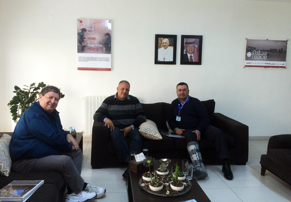 November 2015 - Ya'lla Tours president Ronen Paldi (left) at Caritas Jordan headquarters in Amman with Caritas Jordan General Director Mr. Wael V. Suleiman (center) and Ya'lla's partner in Jordan Mr. Jack Farraj