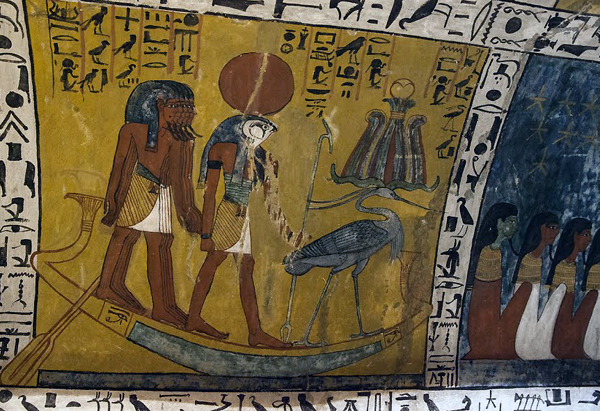 wall painting from the tomb of Sennedjeu, Deir el-Medina, Egypt