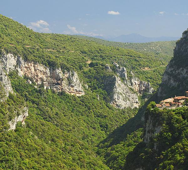 Lousios Gorge, with the Filosofou Monastery on the right and the Prodromou Monastery on the left.