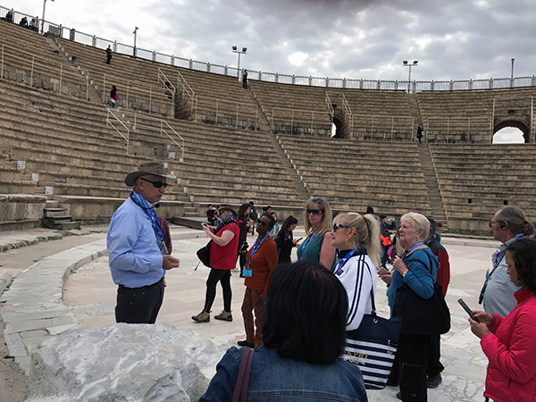 our guide Zivka with some of the group at Caesarea Maritima