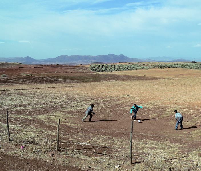 boys playing football in the Atlas Mountains