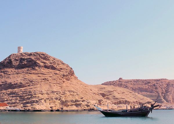 traditional boat in Muscat harbor, photo by Ya'lla traveler Sallie Volotzky
