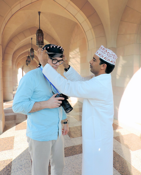 at the Sultan Qaboos Grand Mosque in Muscat