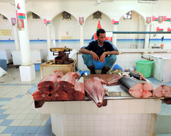 meat market, Nizwa, Oman, photo by Sallie Volotzky