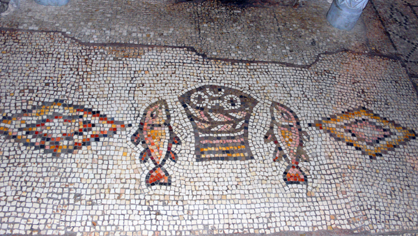 5th-century Loaves and Fishes mosaic at the Church of the Multiplication, Tabgha