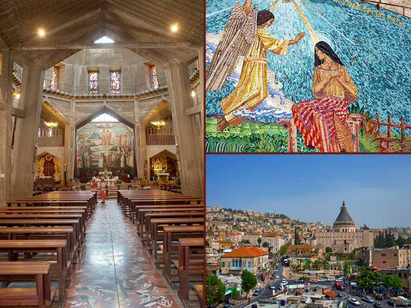 Church of the Annunciation photo on the left by Mordagan; Nazareth photo, bottom right, by Dafna Tal, both photos courtesy of Israel Ministry of Tourism