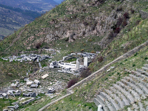 Temple of Dionysus terraced into the slope of the Pergamum acropolis