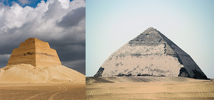 the collapsed Meidum Pyramid (left) and its successor, the revised-midway Bent Pyramid