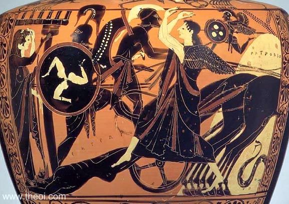 Greek vase painting of Achilles dragging the body of Hector. photo from www.theoi.com