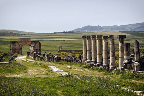 Volubilis, Morocco - This is the main street, Decumanus Maximus, leading to the triumphal Arch of Caracalla. Porticoed walkways and shops lined the street.