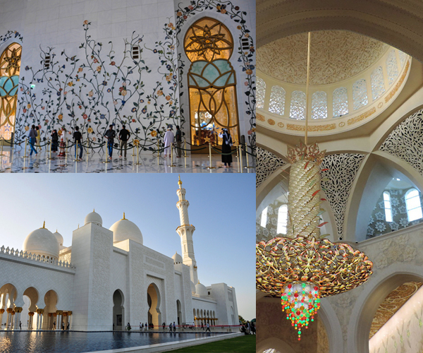 Sheikh Zayed Grand Mosque, Abu Dhabi, UAE - photos by Sue Alstedt (left top and bottom) and Sallie Volotzky (right)