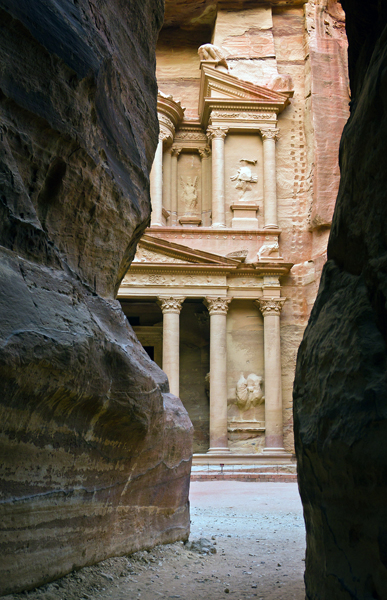 The Treasury as seen from the siq, Petra, Jordan