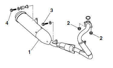 Yamaha YZF-R125 Service Manual: Installing the exhaust