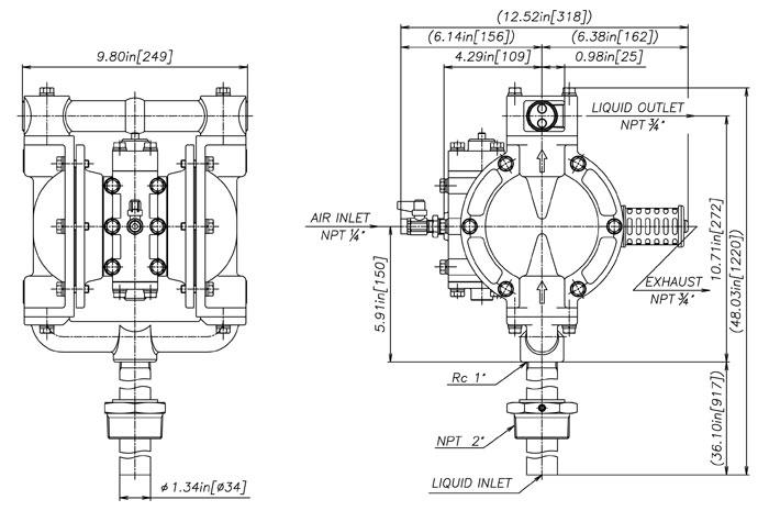 Polypropylene Wilden Diaphragm Pump Diagram