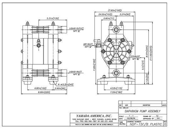 Dimensional Drawings for NDP-15 Series Pumps