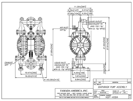 Dimensional Drawings for NDP-40 Series Pumps