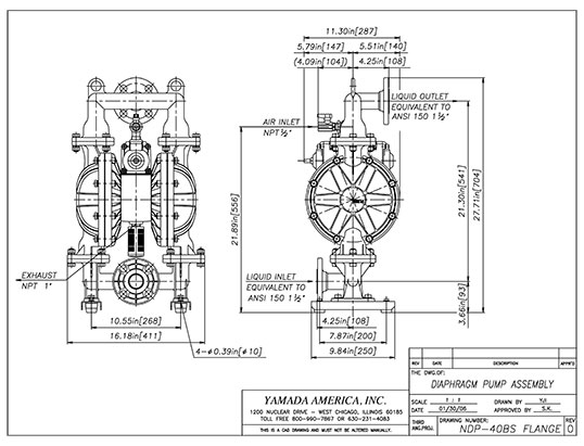 Dimensional Drawings for NDP-40 Series Pumps