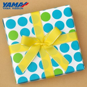 Yama Silver Metallic Edge Grosgrain Ribbon