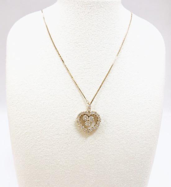 ファションジェリー ダイヤモンド付きハートネックレス